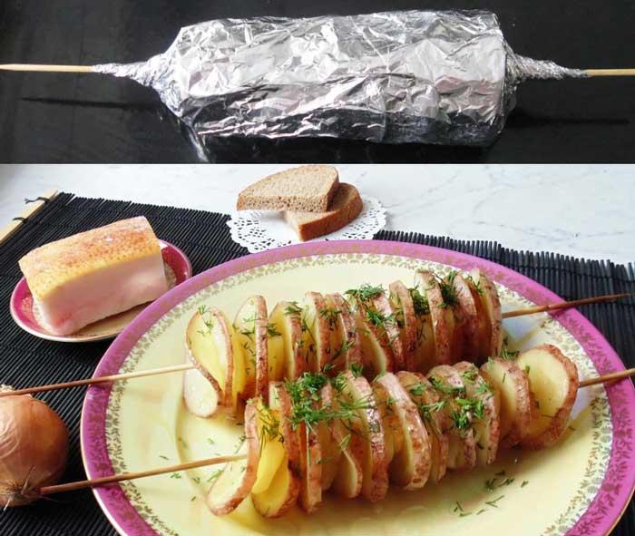 картофель с салом на шпажках